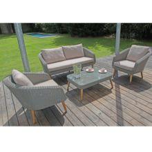 salon de jardin bas centura rsine tresse 2 fauteuils 1 canap 1 table - Salon Bas De Jardin