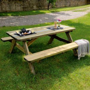 table de pique nique bois trait l180 l160 cm - Mobilier Jardin Bois