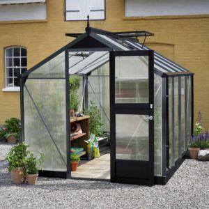 Serre Compact 6,6 m² hors tout anthracite noir + 10 mm polycarbonate - Juliana