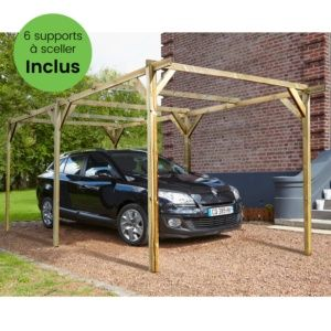 Carport bois traité Madeira Paco 15,36 m² + Supports à sceller