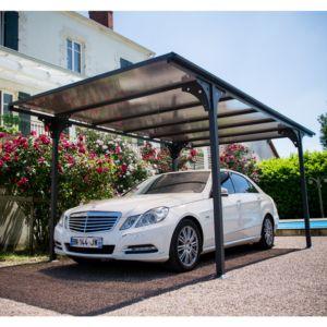 Carport aluminium toit polycarbonate 14,70 m² Habrita
