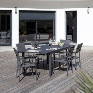 729c55c2708045 Table de jardin Trieste aluminium l180 240 L102 cm gris