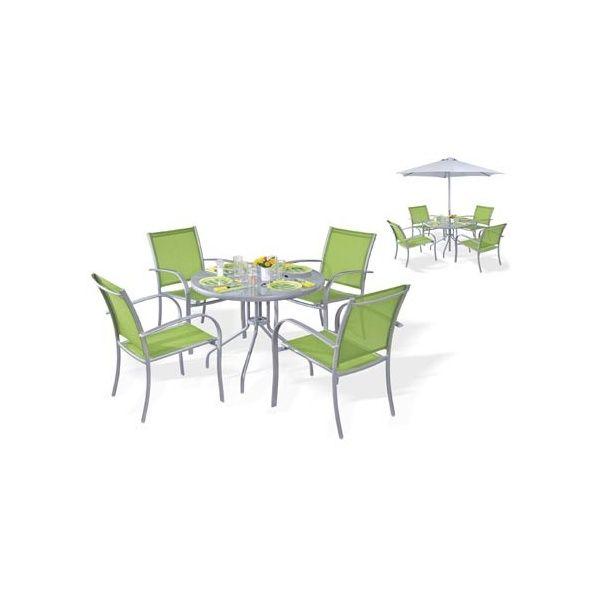 Salon de jardin 4 places : table D90 + 4 fauteuils empilables + ...