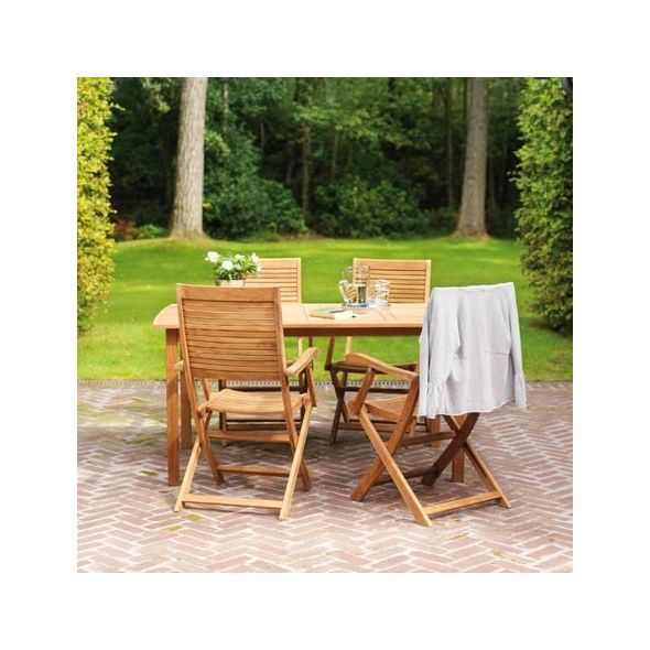 Salon de jardin pour 4 personnes en teck FSC table 150 x 90 x 75 ...