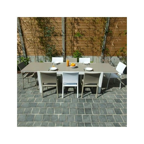Table Alton avec allonge pivotante - 200/300x100x75 - Blanc / Sable ...