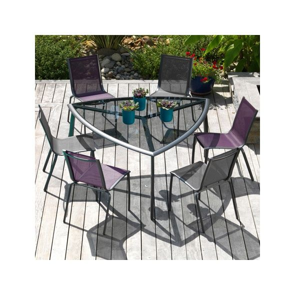 Salon de jardin : table Malaga grise + 6 chaises Linea grises Carton ...