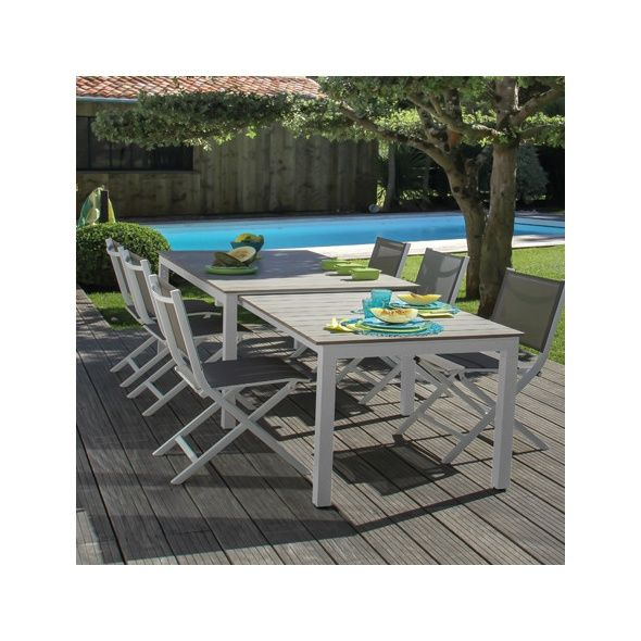 Salon de jardin Thema : Table + 6 chaises pliantes aluminium blanc ...