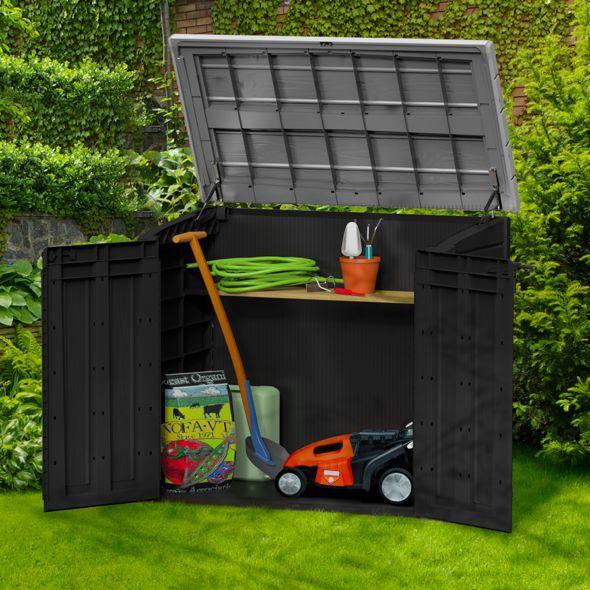 Coffre de jardin en résine multifonctions 1200L gris/noir L145,5 x ...