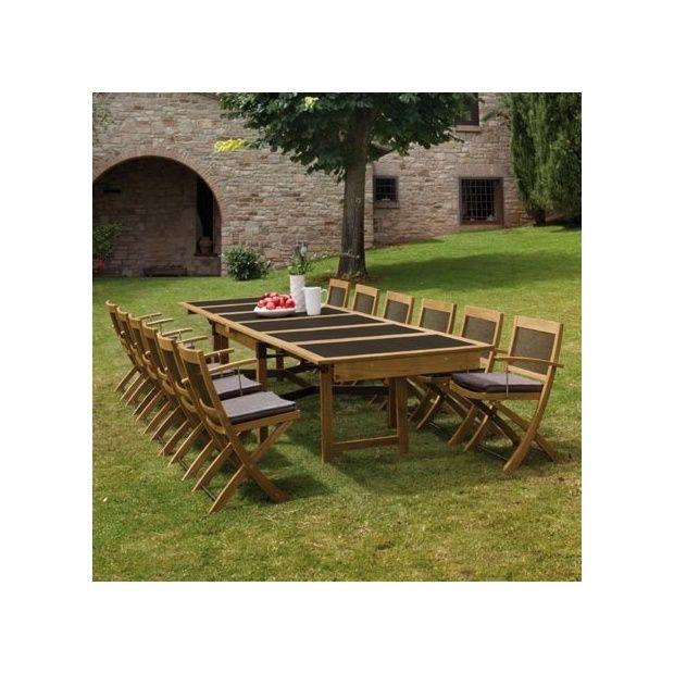 salon de jardin 8 places cetra en teck et acier 1 table extensible 8 chaises pliables emu 8. Black Bedroom Furniture Sets. Home Design Ideas