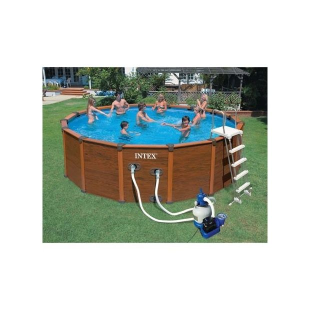 Kit Piscine Aspect Bois Sequoia Intex D M X H M Filtre - Piscine intex aspect bois