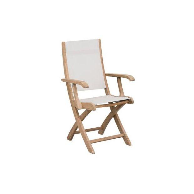Chaise Pliante Avec Accoudoirs Teck FSC Et Textilne Blanc