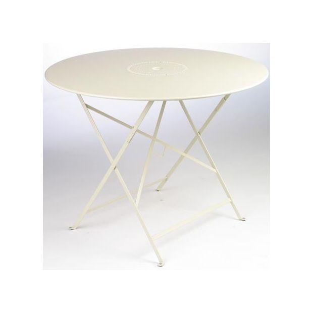 Table pliante D 96 cm Floréal Sable avec trou parasol Fermob Carton ...