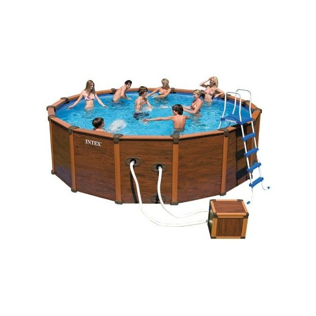Kit Piscine Aspect Bois Sequoia Intex  Krystal Clear  M X
