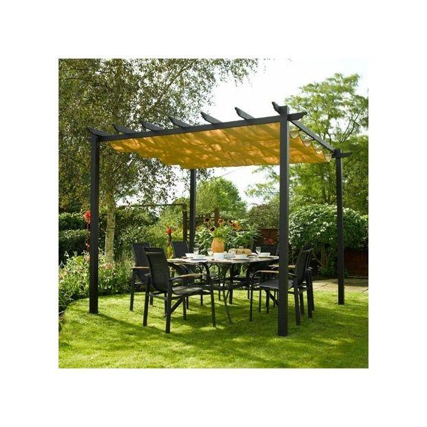 pergola rowlinson noire en aluminium avec toile coulissante cartons gamm vert. Black Bedroom Furniture Sets. Home Design Ideas
