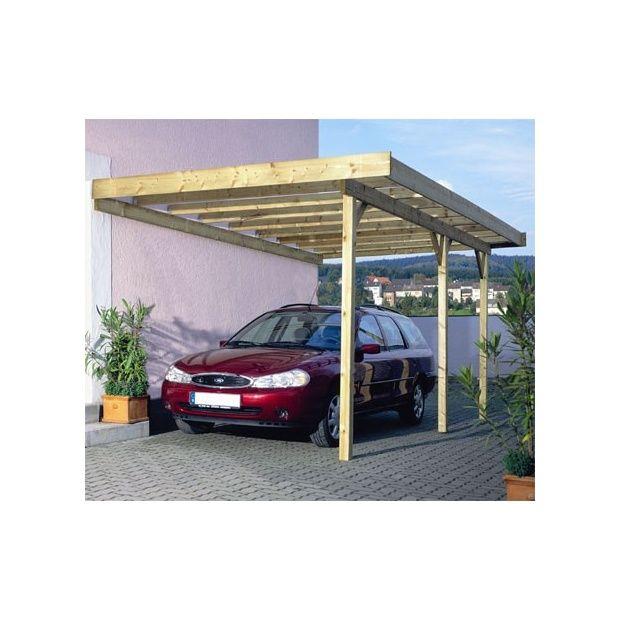carport adossant montr al bois 500x300cm toit plat sans. Black Bedroom Furniture Sets. Home Design Ideas