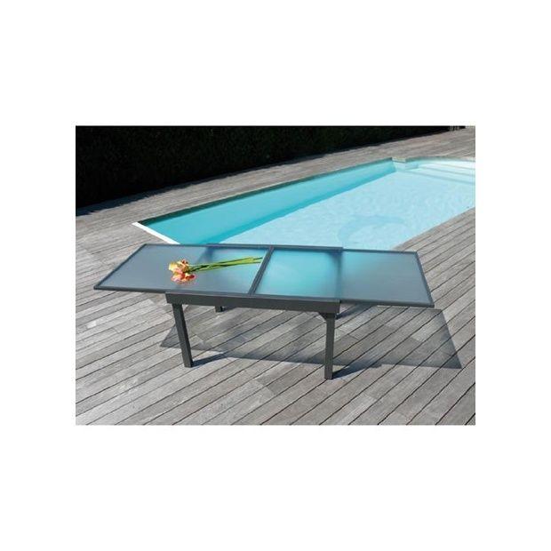 table rallonge 3 m tres structure en aluminium et plateau en verre gamm vert. Black Bedroom Furniture Sets. Home Design Ideas