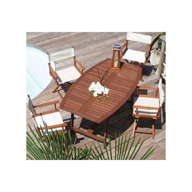 Salon de jardin en bois exotique table ovale 6 chaises Chaise longue jardin bois exotique