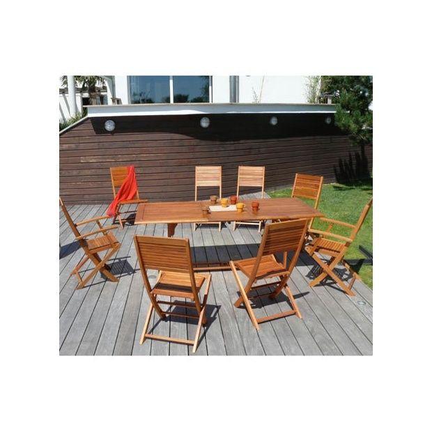 Salon de jardin en bois eucalyptus: table extensible + 6 chaises ...