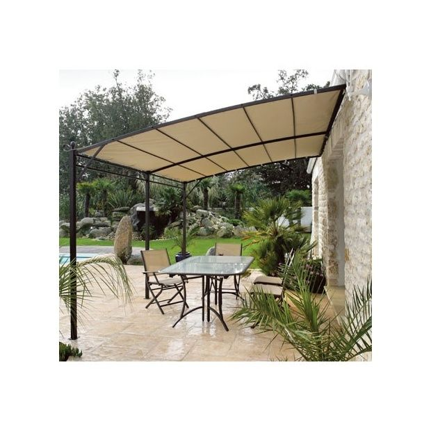 tonnelle de jardin adoss e 4x4 structure en acier toile. Black Bedroom Furniture Sets. Home Design Ideas