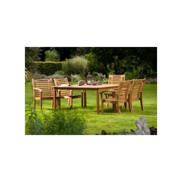 Salon de jardin carré en bois exotique 8 places Lake Sylva 8 colis ...