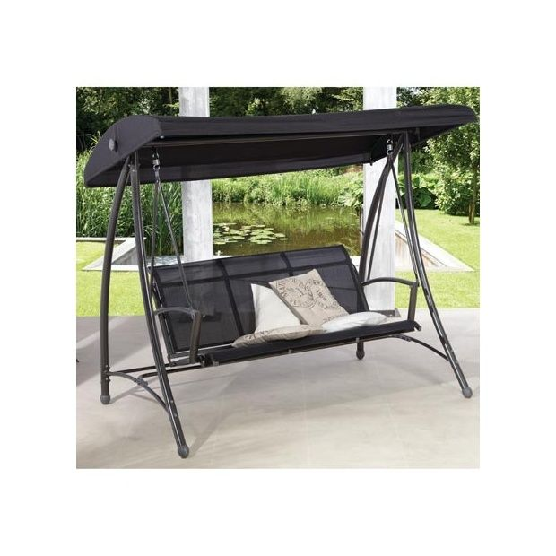 balancelle 3 places en textil ne noir carton 203 x 62 x. Black Bedroom Furniture Sets. Home Design Ideas