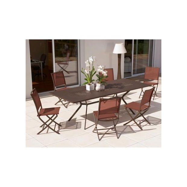 Salon de jardin 6 personnes rouille en acier et textilène table 180 ...