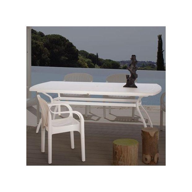 Table de jardin en résine 210/265 x 108 cm avec 1 allonge centrale ...