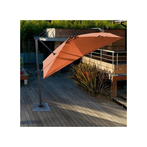 parasol d port orientable rotation 360 3 3 m aluminium et toile 200gr m terracotta 1. Black Bedroom Furniture Sets. Home Design Ideas