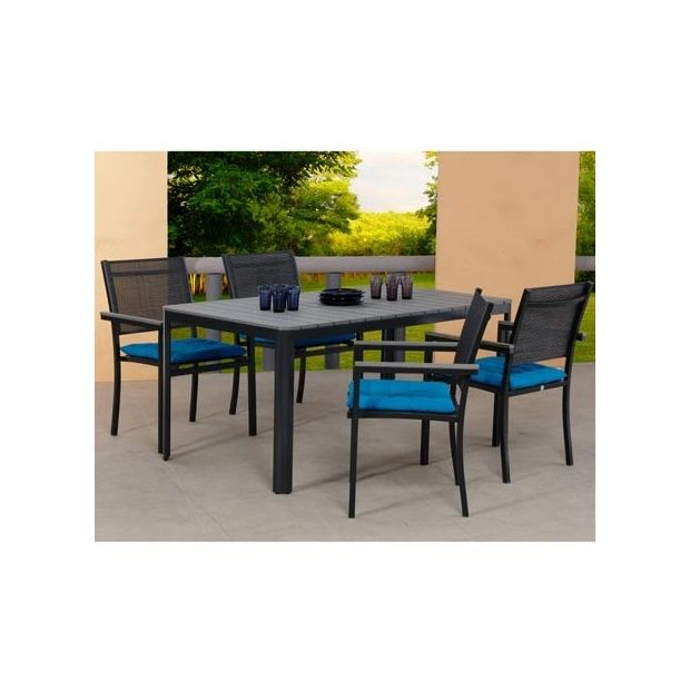 Salon de jardin Sao Paulo : table en polywood 160cm + 4 chaises en ...