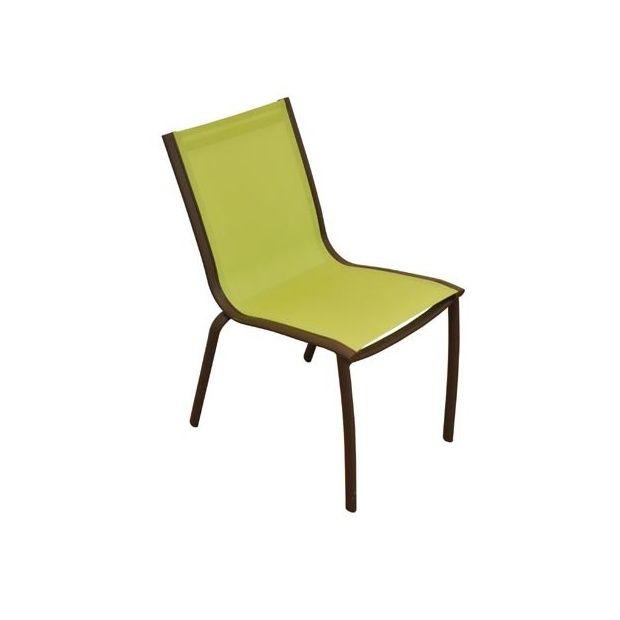 Chaise de jardin empilable Linea en aluminium et textilène - Citron ...