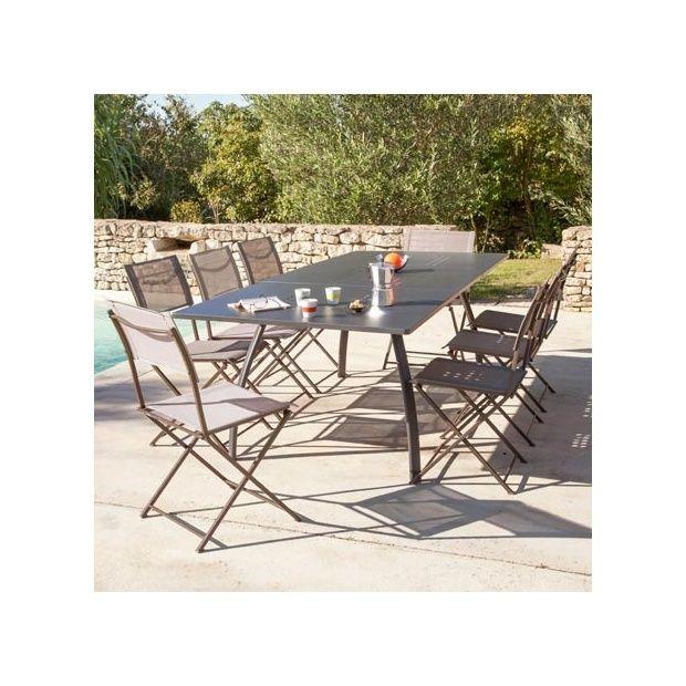 Salon 8 personnes : 8 chaises pliantes Barbade Taupe + Table avec ...