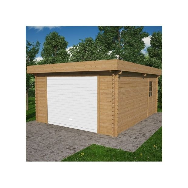 garage en bois toit plat 410 x 530 cm colis x p 120 x cm gamm vert. Black Bedroom Furniture Sets. Home Design Ideas