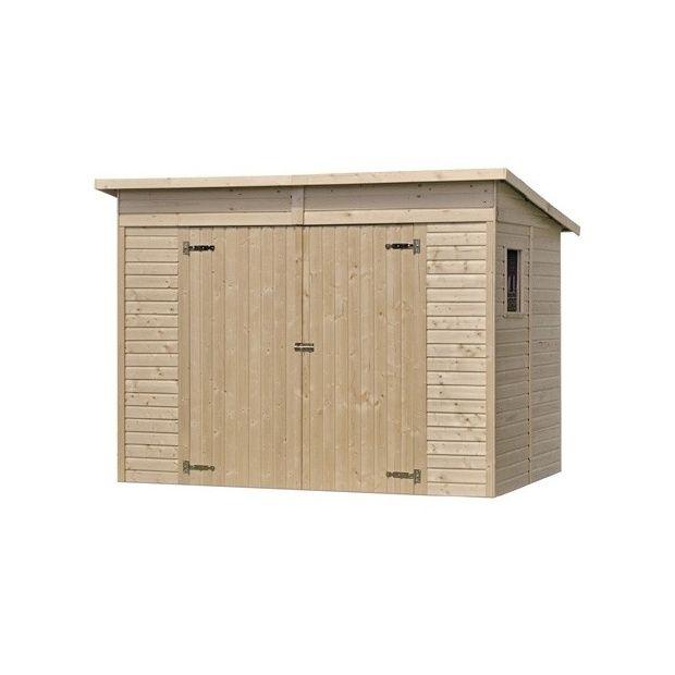 Abri de jardin onno m hors tout bois 13 mm avec plancher 1 palette l 200 x l 112 x h - Abri de jardin en bois avec plancher ...