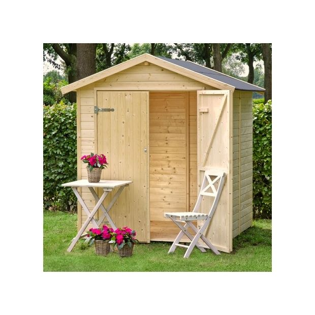 Abri de jardin nyland m hors tout en bois 14 mm avec plancher 1 palette l 180 x l 120 x - Abri de jardin en bois avec plancher ...