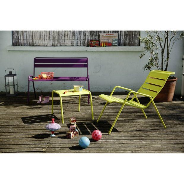 salon de jardin fermob monceau table basse 2 fauteuils 1 banc 1 carton 93 x 55 5 x 78 5. Black Bedroom Furniture Sets. Home Design Ideas
