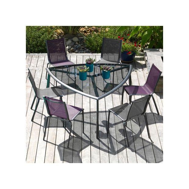 Salon de jardin : table Malaga grise + 4 chaises Linea grises + 2 ...