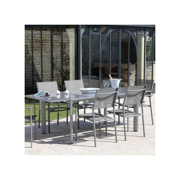 Salon de jardin taupe : Table Messina l160/230 L100 cm + 6 fauteuils