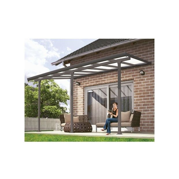 pergola toit terrasse aluminium et polycarbonate 4x3 m gris colis 309 x 67 x 24 5 cm gamm vert. Black Bedroom Furniture Sets. Home Design Ideas