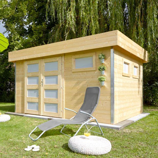 Abri de jardin bois 12 8 m ep 28 mm toit plat comfy 120 x 386 x 48 cm gamm vert - Toit abris de jardin ...