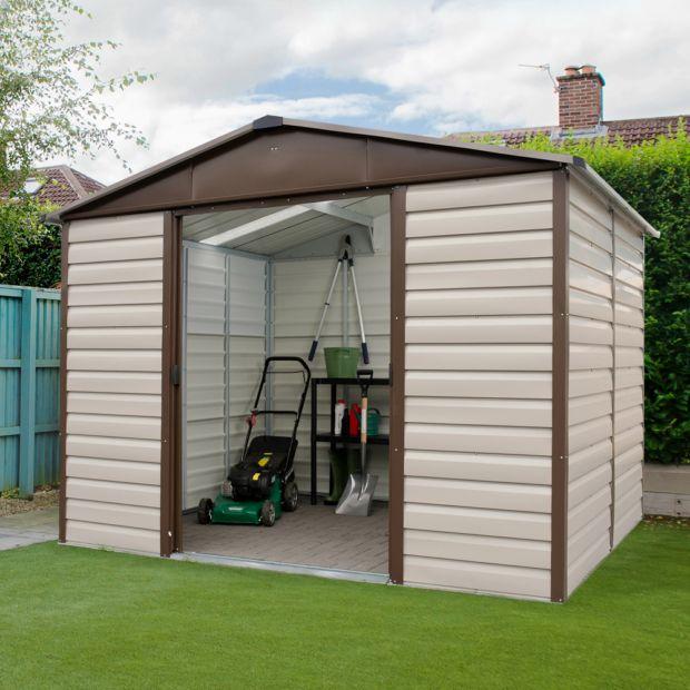 petit abri de jardin m tal 5 97 m ep 0 30 mm yardmaster colis 1 206x77x9 cm colis 2. Black Bedroom Furniture Sets. Home Design Ideas