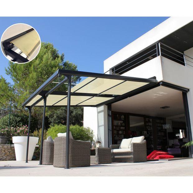 tonnelle adoss e aluminium stores enroulables 4x3 5 m. Black Bedroom Furniture Sets. Home Design Ideas