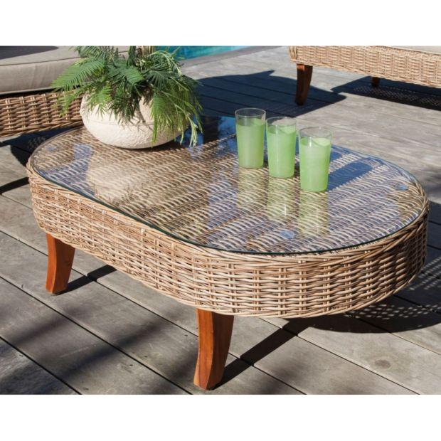 Salon de jardin bas Avani résine tressée : 2 fauteuils + 1 canapé + ...