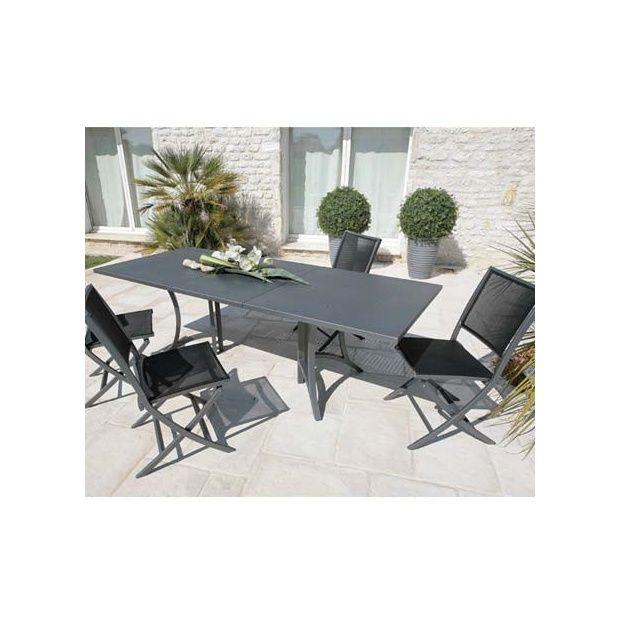Salon de jardin MADRID avec 6 chaises en alu textilène carton - Gamm ...