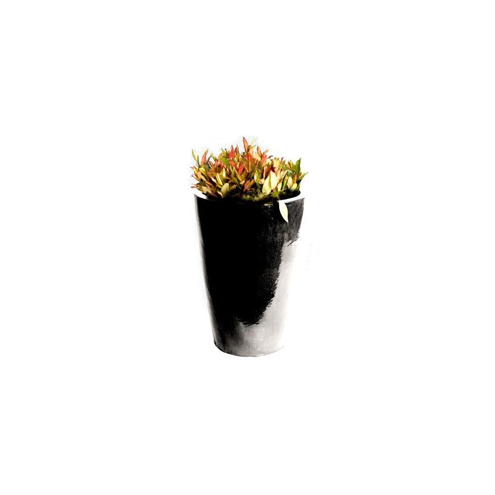 Pot conique en terre cuite maill e 49 litres noir brillant d33xh57 cm diam tre 33 cm - Pot en terre cuite emaillee ...