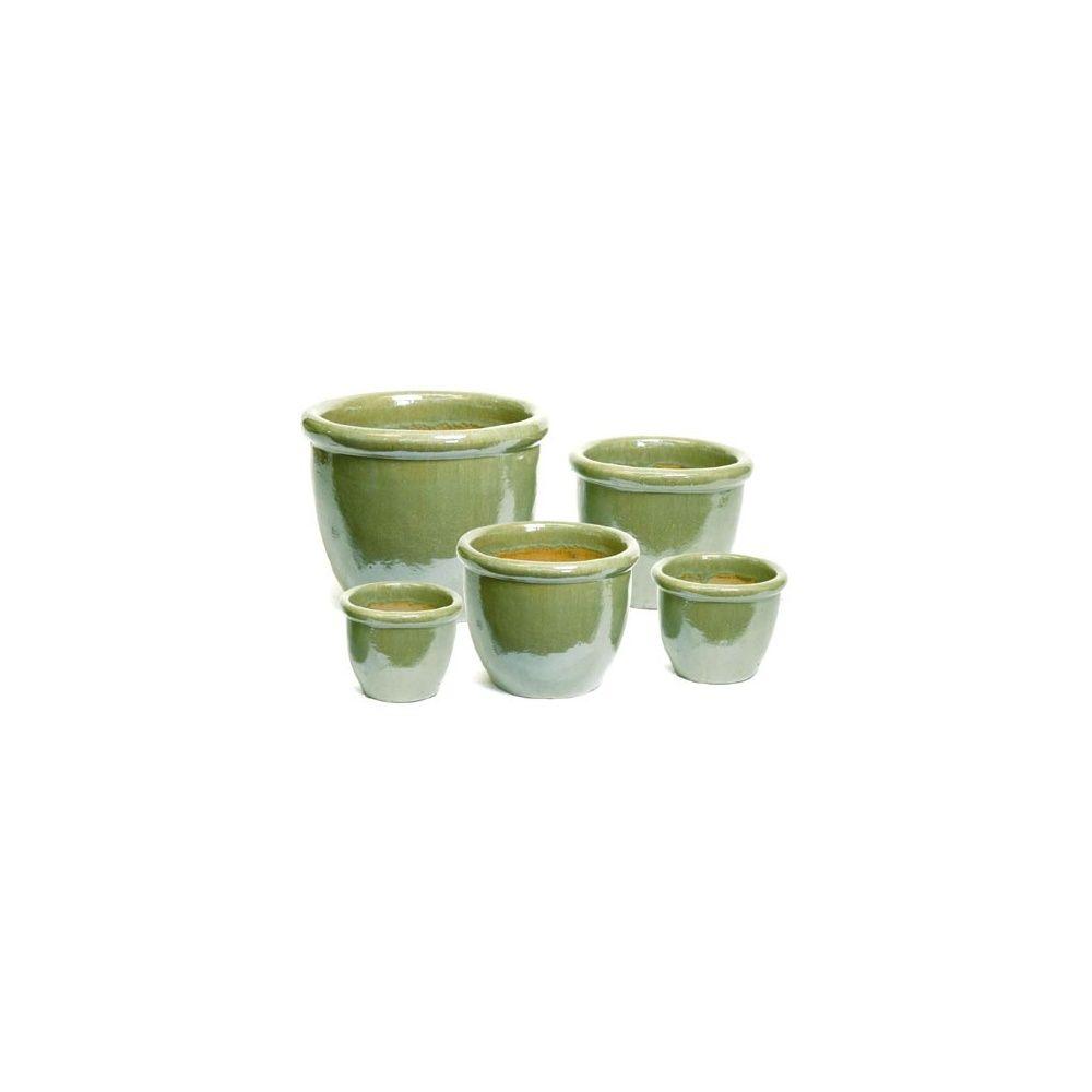 Pot En Terre Cuite Emaillee Vert Olive D62 Cm Diametre 62 Cm