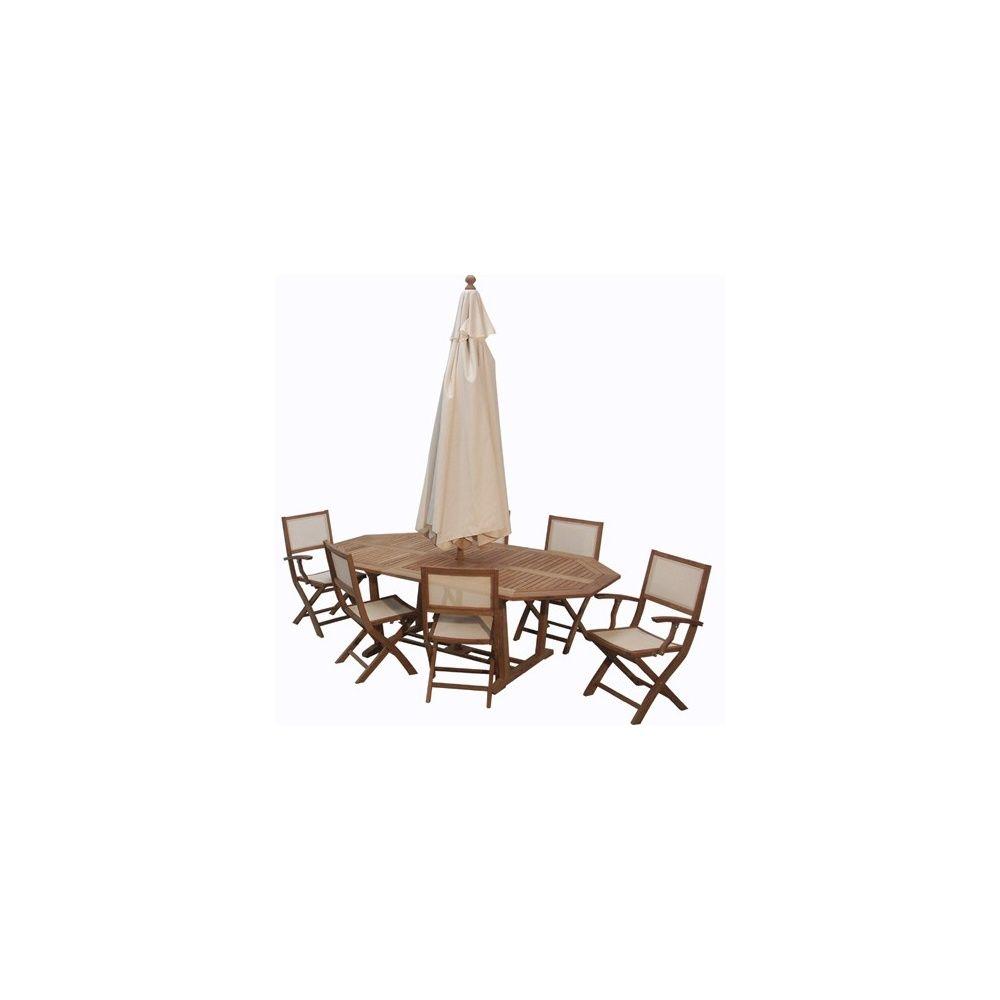 Salon en teck et batyline® LINEA : Table octogonale + 4 chaises pliantes +  2 fauteuils pliants