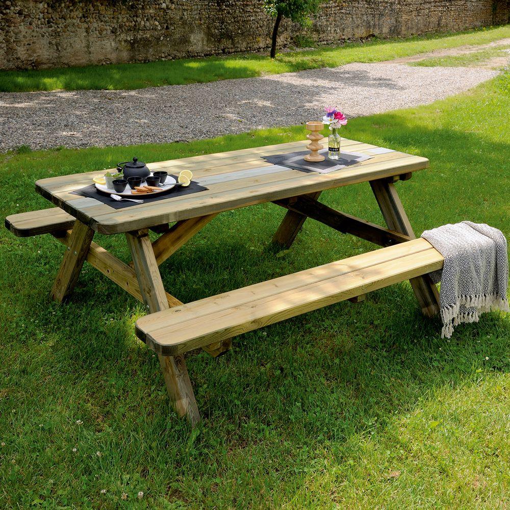table de pique nique bois trait l180 l160 cm 185 x 75 x. Black Bedroom Furniture Sets. Home Design Ideas