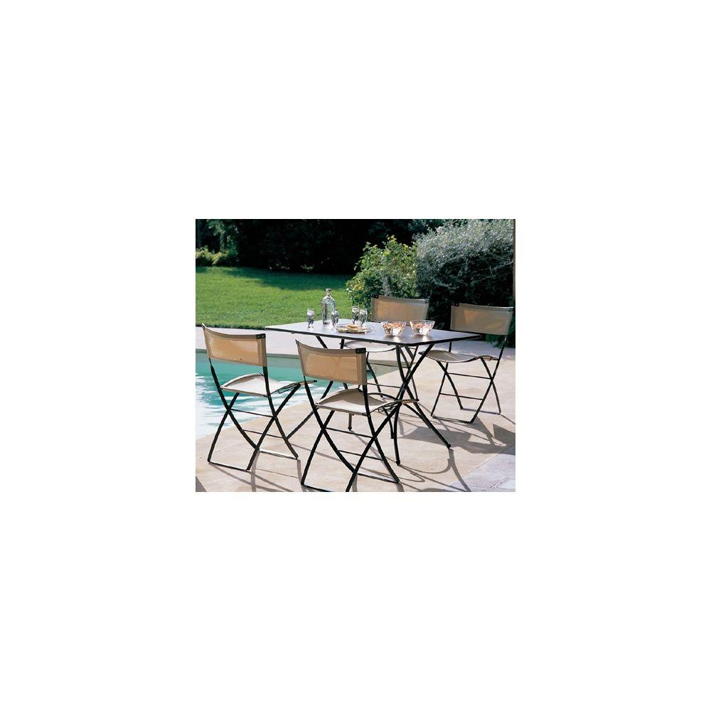 Salon de jardin 4 places: Table Pigalle 120 x 76 cm + 4 chaises Axa ...