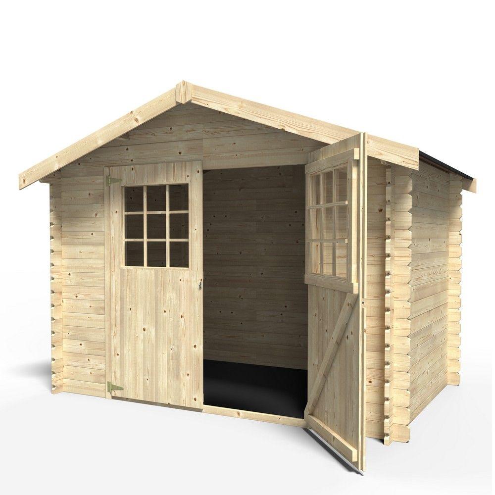 Abri de jardin en bois 6.75 m² Ep.28 mm Flodova Palette 2,10 x 1 x 0 ...