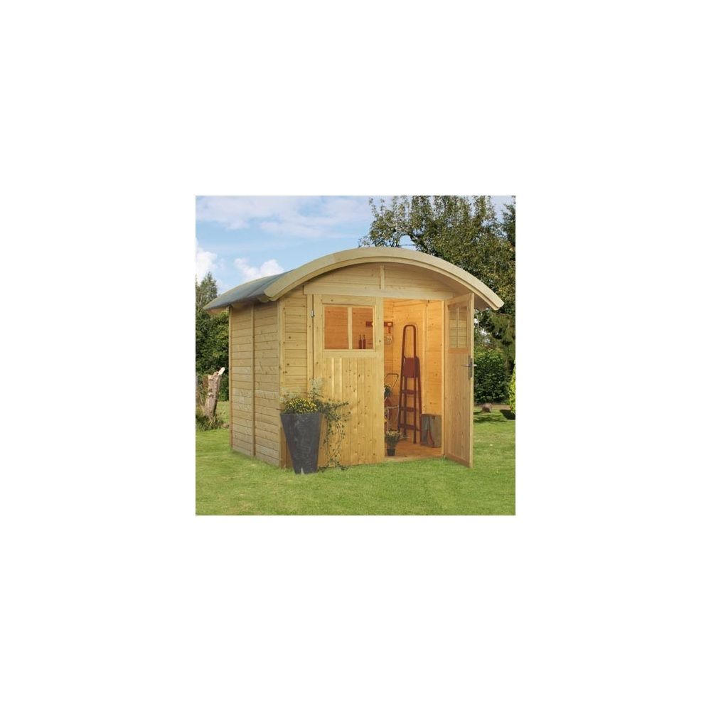 Abri de jardin en bois massif 19 mm de 4 m2 toit demi-lune avec ...